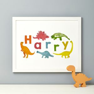 Personalised Dinosaur Name Print - children's room