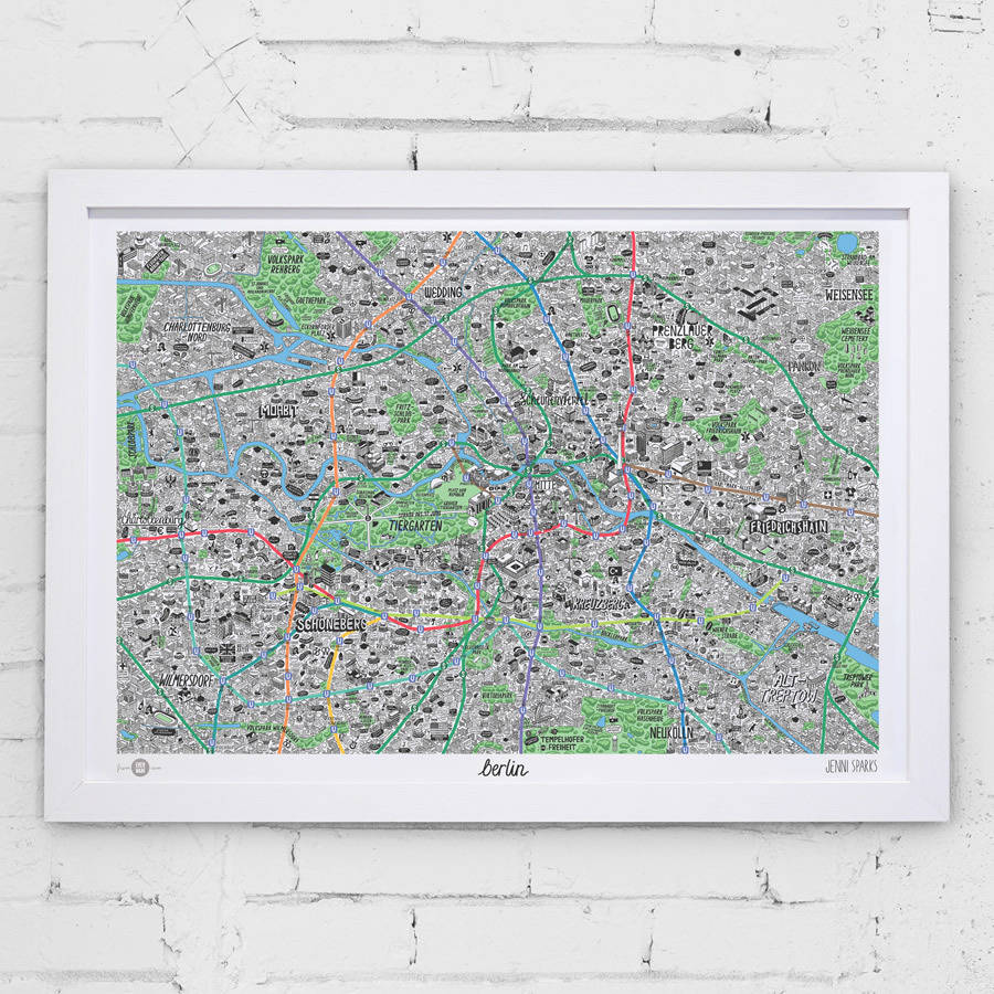 hand drawn map of berlin print by evermade | notonthehighstreet.com