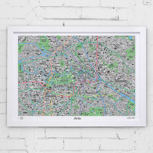 Hand Drawn Map Of Berlin Print - living room