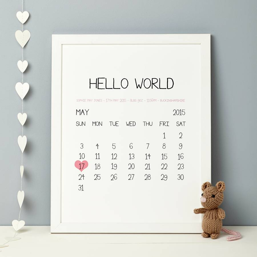Personalised baby birth date print by thispaperbook personalised baby birth date print negle Image collections