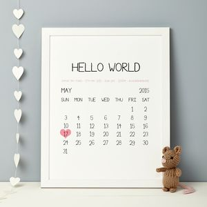 Personalised Baby Birth Date Print - children's room