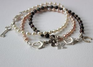 Pearl Stacking Bracelets With Silver Charms