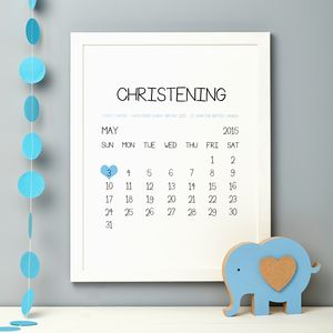 Personalised Christening Date Print - children's room