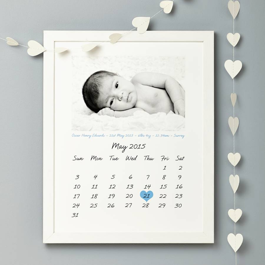 Personalised Photo Calendar Birth Print