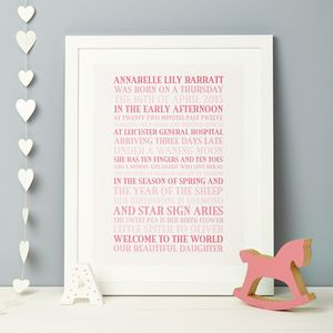 Personalised Baby Birth Story Print - children's room