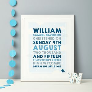 Personalised Clouds Christening Print - children's pictures & paintings