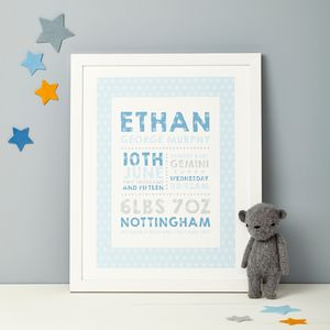 Personalised Birth Details Print - children's pictures & prints