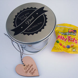Personalised Tin Bucket With Sweeties Or Teabags - sweets