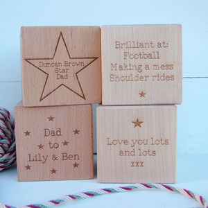 'About My Dad' Engraved Wood Block