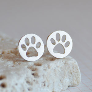 Hollow Pawprint Earring Studs In Sterling Silver - earrings