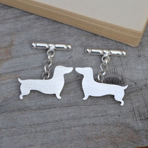 Dachshund Cufflinks In Sterling Silver Personalised