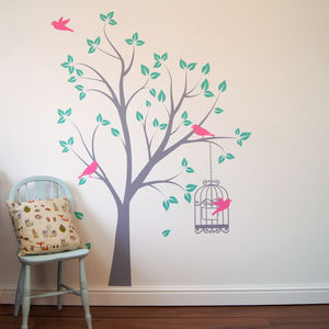 Tree With Bird Cage Wall Stickers - decorative accessories