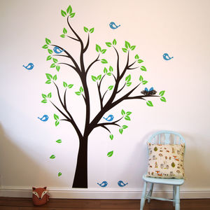 Birds Nests In Tree Wall Sticker - children's room accessories