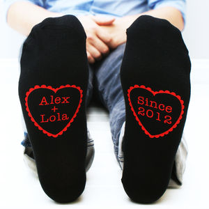 Personalised Men's Heart Socks - love tokens for him