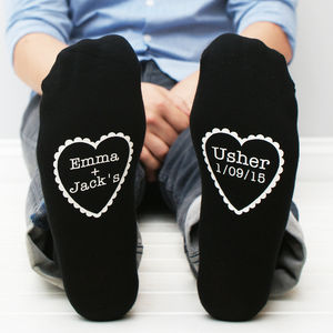 Personalised Wedding Heart Men's Socks - wedding favours