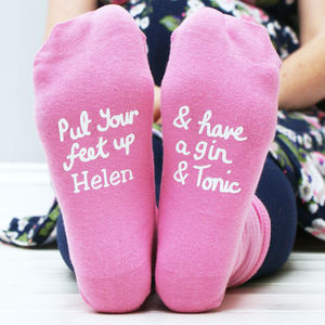 Personalised Women's Gin And Tonic Socks - stocking fillers