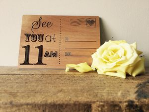 Personalised Wooden 'See You At…' Postcard - wedding cards