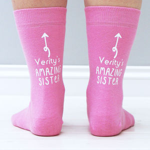 Personalised 'My Amazing Sister' Ankle Print Socks