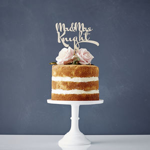 Personalised Calligraphy Wooden Wedding Cake Topper - table decorations