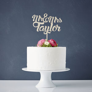 Personalised Wooden Wedding Cake Topper - cake toppers & decorations