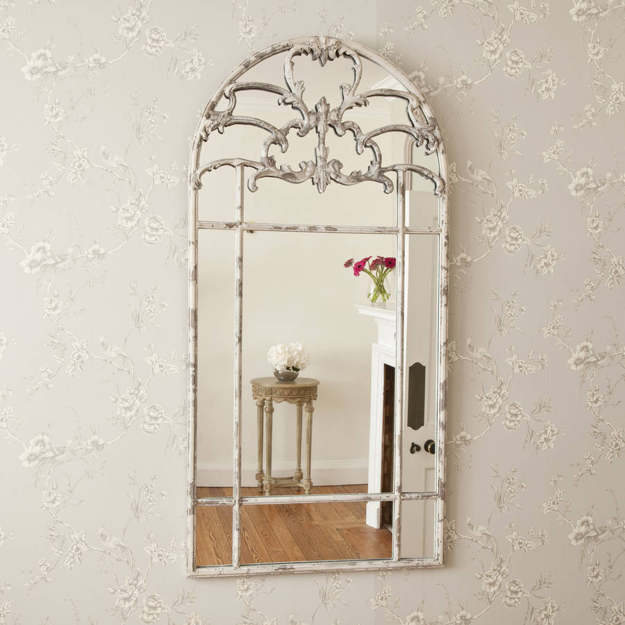 Aged Arched Metal Window Mirror By Decorative Mirrors