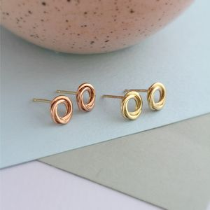 9ct Gold Russian Ring Stud Earrings - gold