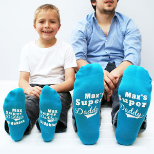 Personalised Super Daddy Socks Set - children's dad & me sets