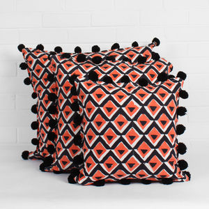 Hand Block Print Geo Pom Pom Cushions - bedroom