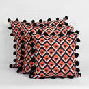 Hand Block Print Geo Pom Pom Cushion