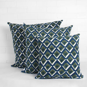 Hand Block Print Geo Cushions - patterned cushions