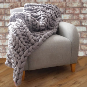 Yarnscombe Chunky Hand Knitted Throw - throws, blankets & fabric