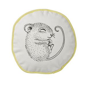 Illustrated Sleeping Mouse Cushion - children's room