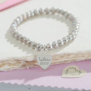 Personalised Dove Grey Pearl Bracelet With Silver Charm