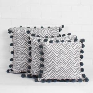 Hand Block Print Zig Zag Pom Pom Cushions - cushions