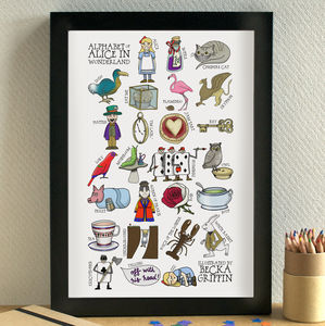 Alice In Wonderland Alphabet Print - shop by subject