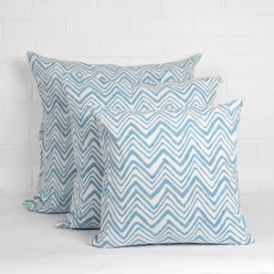 Hand Block Print Zig Zag Cushions - soft colour pop