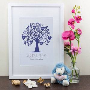 Personalised Art Print, Blue Family Tree Design