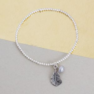 Hope Sterling Silver Bead And Feather Bracelet - bracelets & bangles