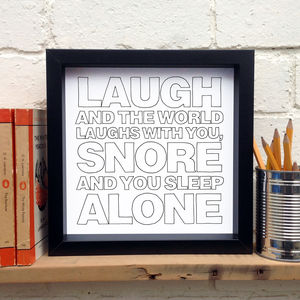 Gift For Husband; 'Snore And You Sleep Alone'