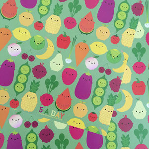 Five Sheets Of Five A Day Fruit And Veg Wrapping Paper