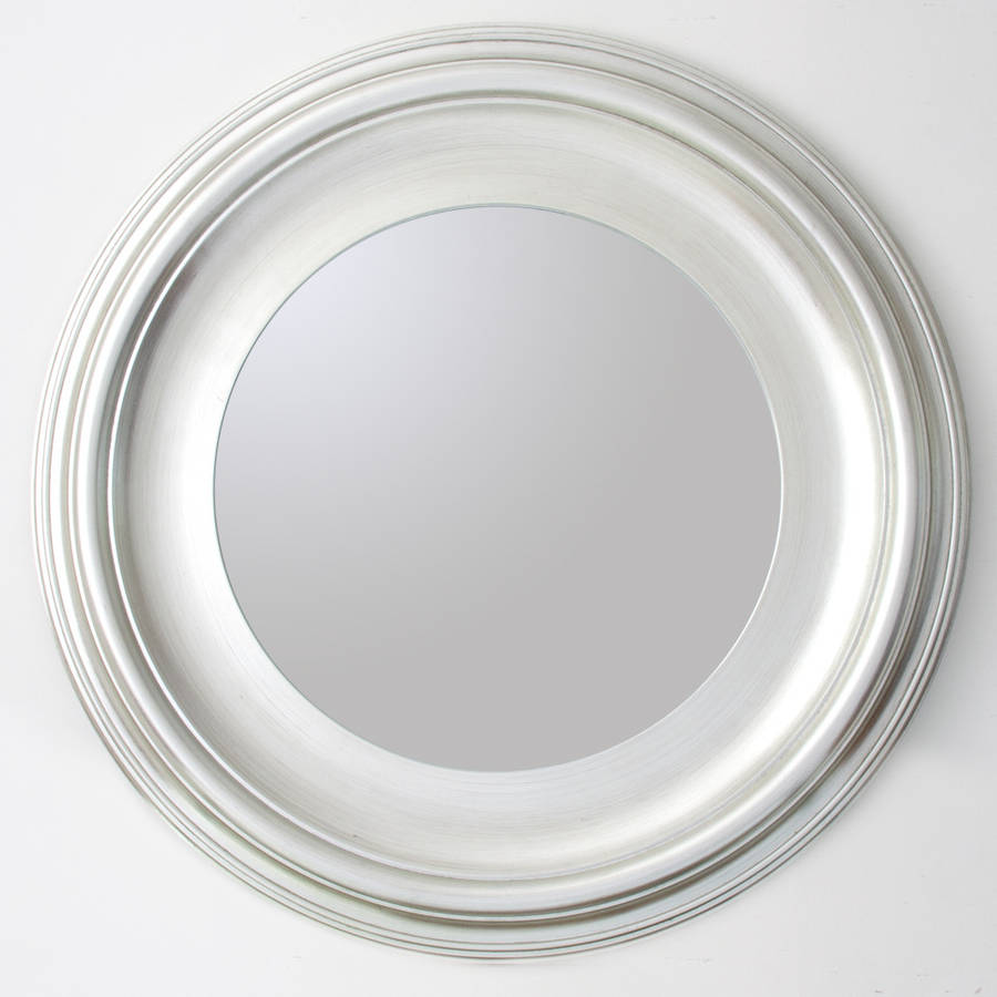 Silver round mirror by decorative mirrors online Round framed mirror