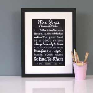 Personalised Teacher's Classroom Rules Print - view all sale items