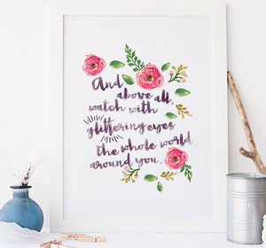 Roald Dahl Quote Floral Typographic Wall Art Print