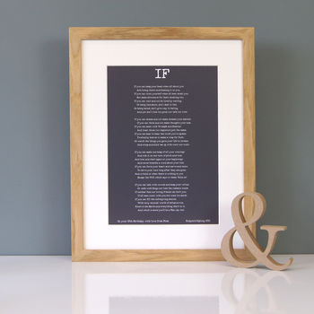 If poem print in Earth with white text in an oak frame