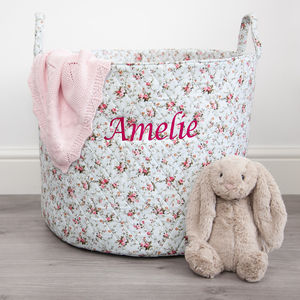 Personalised Blue Ditsy Storage Bag - children's room