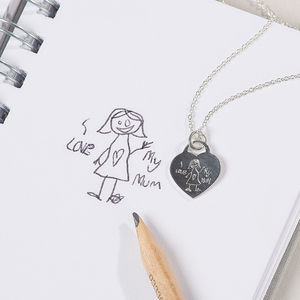 Your Child's Drawing Personalised Silver Heart Necklace - what's new
