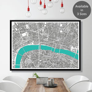 London Map Art Print Hand Drawn Limited Edition - posters & prints