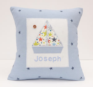 Personalised New Baby Little Star Boat Cushion - cushions