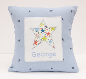 Personalised New Baby Little Star Cushion