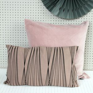 Pink And Black Rectangle Cushion
